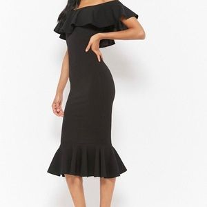 Flounced Off the shoulder black dress. Never worn